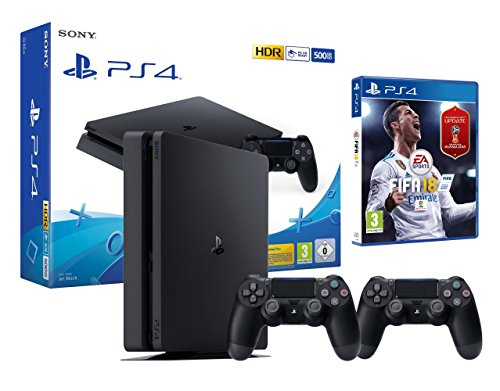 PS4 Slim 500 GB schwarz Playstation 4 - FIFA 18 + 2 Dualshock Controller 4