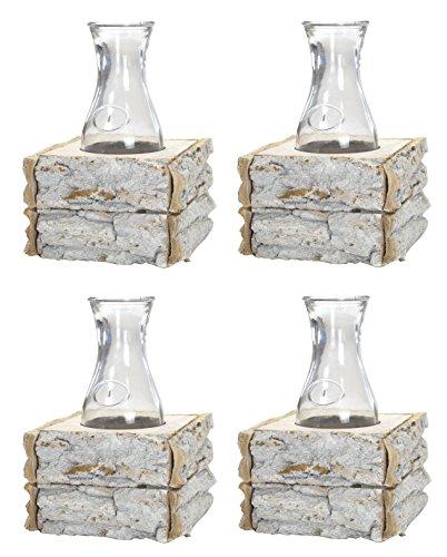 Decoline Glas-Vasen im Holz-Rahmen 4 Stück