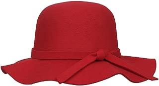Elee Kids Girl's Vintage Wide Brim Fleece Wool Felt Bowler Cap Floppy Hat Bow