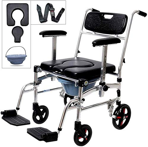 Youruo 4-in-1 Rolling Casters Elderly Wheelchair Commode Adult Folding Mobile Toilet Seat Toilet Bath Chair Pregnant Women Commode Chair