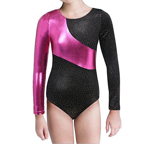Kidsparadisy Mädchen Gymnastik-Turnanzug Tanzkleidung Lange Ärmel Regenbogen Streifen zum 2-15 Jahre (Black, 160(12-13T))
