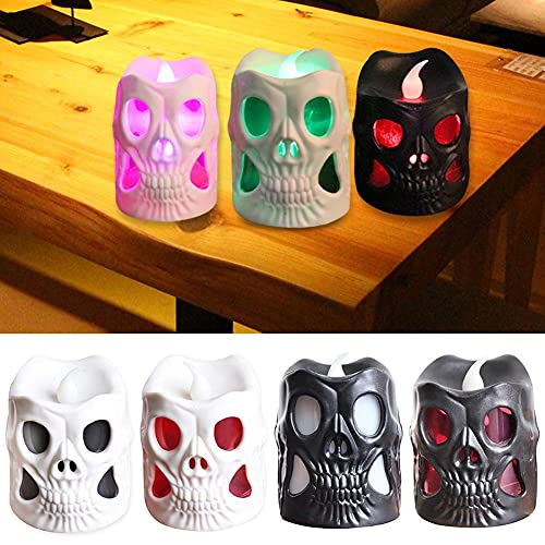 Set of 4 LED Light Up Halloween Skull Shaped Flameless Candle Decorations