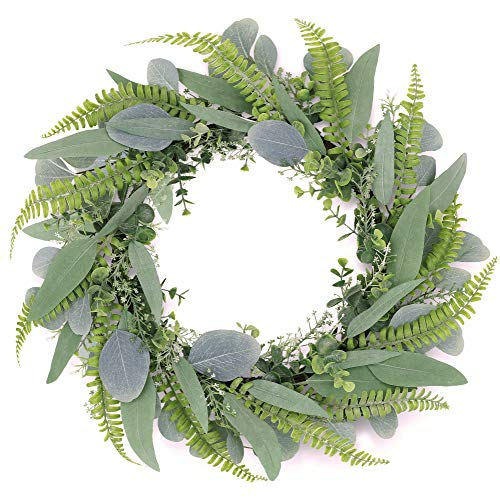 Tiny Land 19 Inch Green Eucalyptus Wreath for Front Door- Handicraft Bamboo Frame with Versatile Silk Leaves - Ideal Spring & Summer Decorating for Indoor & Outdoor Use