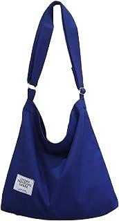 [ブルーディー] シンプル キャンバス ショルダー バッグ 大きめ 無地 帆布 トート 斜めがけ 肩掛け かばん レディース ネイビー