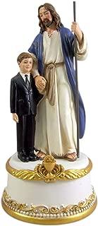 Boy's First Communion Jesus and Child Commemorative Music Figurine Box, 7 1/2 Inches