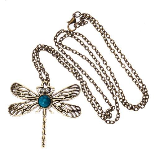 VAGA - Collar con colgante de libélula de estilo vintage