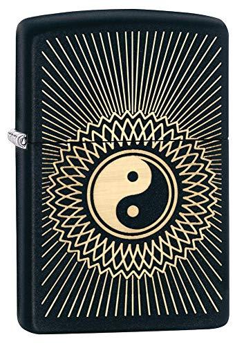 Zippo-Feuerzeug mit Yin-Yang-Motiv, schwarz, matt