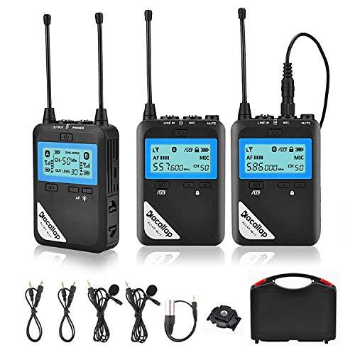 Sistema de micrófono de solapa inalámbrico Lavalier, 100 canales de alta UHF profesional kit de micrófono para cámara DSLR, videocámara XLR, smartphone (2TX+1RX)