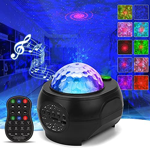 Proyector Estrellas, CHACOKO Lámpara de Nocturna con Altavoz, 48 Efectos de Colores (15 Colores de Ondas de Agua&3 Colores de Estrellas), Sincronización Musical, Ángulo Ajustable para Fiestas, Salas