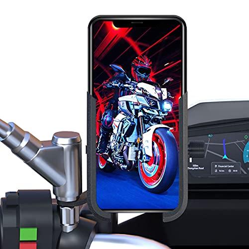 Soporte movil Moto Scooter Aluminio sujecion a Espejo retrovisor irrompible Valido para telefonos moviles de hasta 7.2' Soporte móvil Moto Scooter Soporte para movil Moto