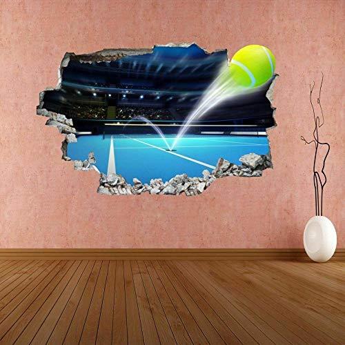 Wandtattoo Tennis Ball Serve Ace Hard Court 3D Wall Sticker Mural Decal Kids Room Decor