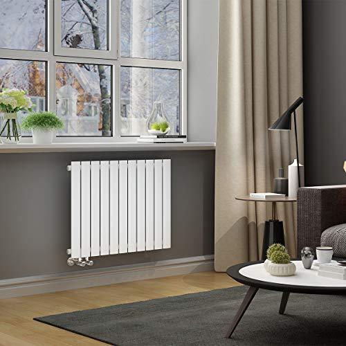 ELEGANT Paneelheizkörper Horizontal 630 x 847 mm Weiß Badezimmer/Wohnraum Einlagig Horizontal Heizkörper Badheizkörper Design Flachheizkörper