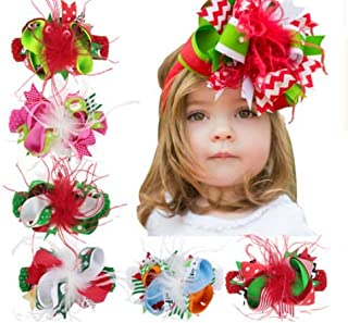 Simsly Colorful Child Birthday Flower Bow Hair Bands Christmas Feather Headbands Bow Accessories for Toddlers Baby Girls Teens Kids.(color1) (Green Hair vine)