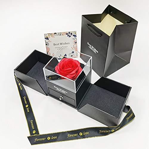 Queta Rosa Eterna, Rosa Preservada Eterna Hecha a Mano Caja de Joyería Joyero de Regalo para el Día de San Valentín Aniversario de Bodas Día de la Madre Navidad Cumpleaños Regalos Románticos (