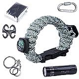 TTLIFE Eccellente kit di sopravvivenza multiuso, 12 pezzi (braccialetto di...