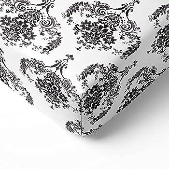 Bacati- Classic Damask White/Black Crib Fitted Sheet