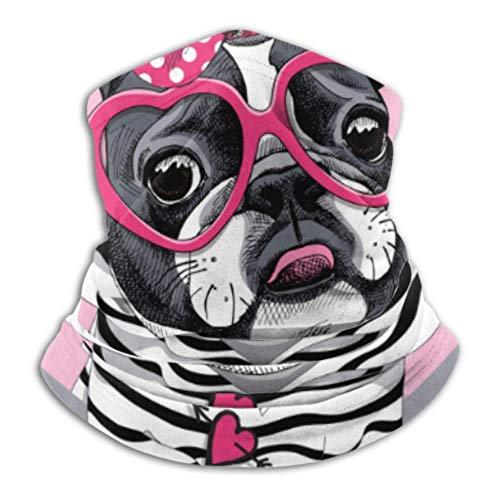 Fleece Neck Warmer,Multifunctional Card Valentines Day French Bulldog Striped Scarf,a Full Face Mask Or Hat, Neck Gaiter, Neck Cap,ski Mask, Half
