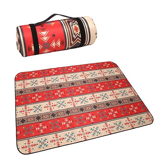 Yajun Esterilla de Picnic para la Familia Vintage Impreso Plegable Impermeable a Prueba de Arena Multifuncional Manta de Playa para Viajes,Red,150 * 130cm
