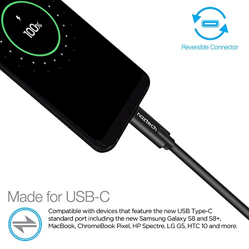 Naztech USB-C to USB-C 3ft High Speed Charge & Sync Cable Compatible Galaxy S20,S10,S9,S8,Note8/9/10, MacBook, ChromeBoook Pixel, LG G5, Pixel 4 + More