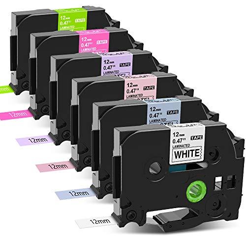 MarkField Compatible Ruban Remplacement pour Brother P-Touch TZ TZe-231 12mm x 8m 0,47 d'étiquettes laminé pastel pour PT-H105 H101C H110 H100LB/R 1000 1010 1080 D200 E100, 6 Pack