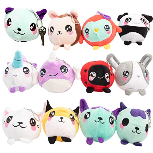 Click Products Krazy Plushimals Scented Keychains for Kids Fun Characters for Girls Soft Stuffed Animals Small Home School Travel Fun Backpack Decorations for Kids
