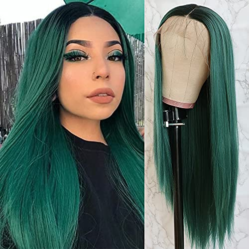 QD-Tizer Lace Front Wigs, Long Straight Hair Ombre Green Wig Glueless Heat Resistant Fiber Hair Synthetic Lace Front Wigs for Fashion Women