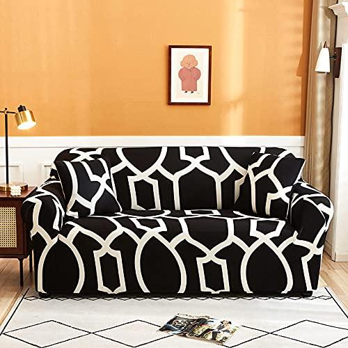 Funda Sofa Rinconera Moderno Patrón Blanco Y Negro Con Estampado Geométrico Nordic Super Stretch,Antideslizante,Resistente A Las Arrugas,Funda De Sofá Con Funda De Almohada Para Perros,Gatos,Masc