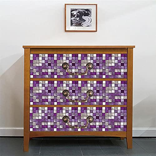 Carrelage Adhesif Mural Damier Argent Violet Stickers Carrelage PVC Étanche credence Adhesive pour Cuisine Splashback Tile Stickers Muraux Carrelage Adhesif Mural Salle de Bain Tile 15x15cm