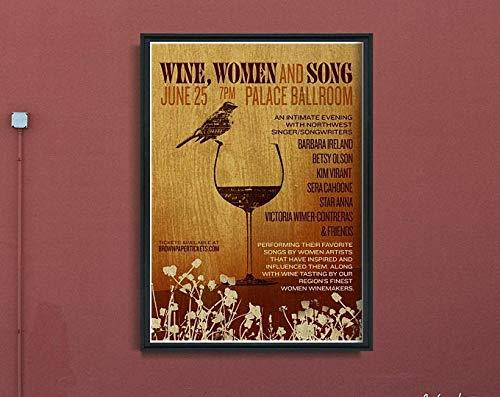 Azsteel - Póster vintage para mujer y canción, diseño de vino, estilo vintage, decoración de cocina, diseño de vino # 143