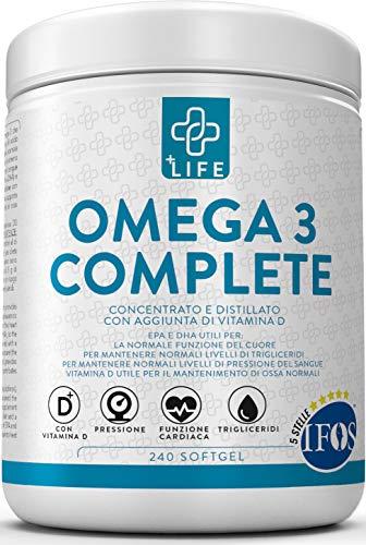 Omega 3 Certificato 5 Stelle IFOS PiuLife 240 Capsule con Vitamina D  1600mg EPA + 800mg DHA per Dose, Olio di Pesce Omega 3 capsule da 1000mg per Controllo dei Trigliceridi