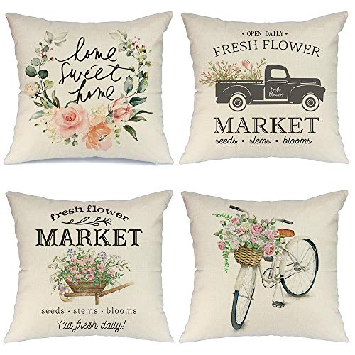 AENEY Spring Pillow Covers 20x20 for Couch Set of 4 Farmhouse Throw Pillows Home Decorations A223-20