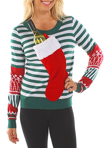 Tipsy Elves Women's Christmas Stocking Tacky Sweater: Medium Green