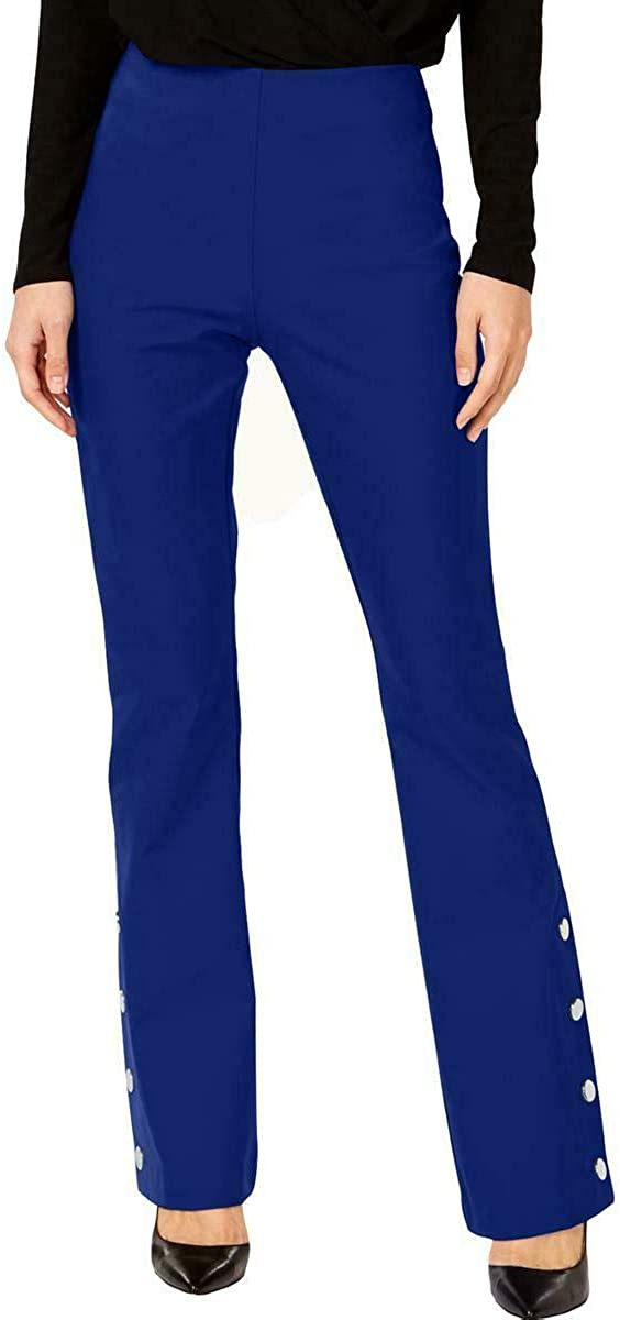 INC Womens Mid-Rise Pull On Bootcut Pants Blue 6