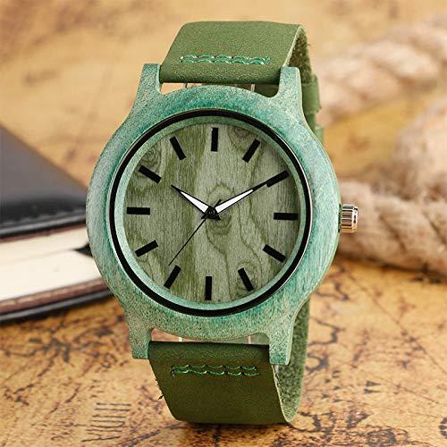 RWJFH Reloj de Madera Reloj de Pulsera de MaderaCorrea de PielSimpleVerde & amp;Reloj de Pulsera con Esfera marrón Relojes de Cuarzo para Exteriores Deportivos Casuales