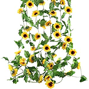 Decoration Artificial Fake Flower Sunflower Hanging Vines Greenery Garland Silk Plant Leaves String Green Leaves Vines for Home Hotel Office Garden Wedding Party Outside Decoration(4 Pcs)