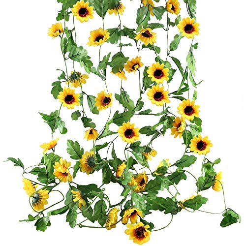 HZAMING 8 Ft Artificial Sunflowers Hanging Vine Silk Fake Flowers Garlands Home Office Garden Outdoor Wall Greenery Cover Jungle Party Decoration (Yellow) (Artificial Sunflowers Hanging Vine, 3 PCS)