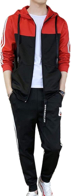 KLJR Men Hooded 2 PCS Outfits color Block Slim Zip Up Casual Tracksuits