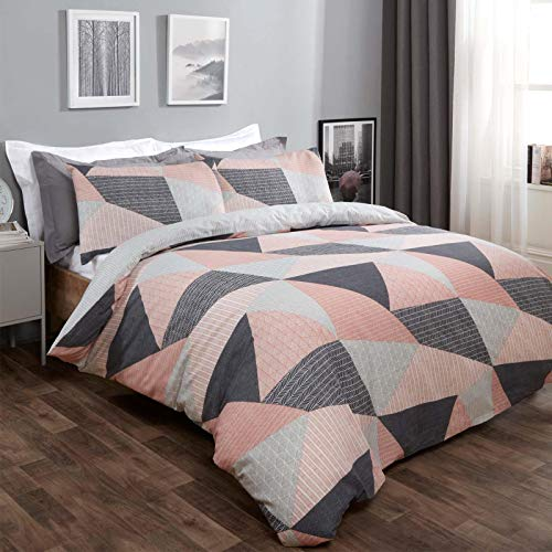 Dreamscene Geometric Duvet Cover with Pillowcases Textured Scandi Pink and Grey Bedding Set, Blush Pink - Double Size