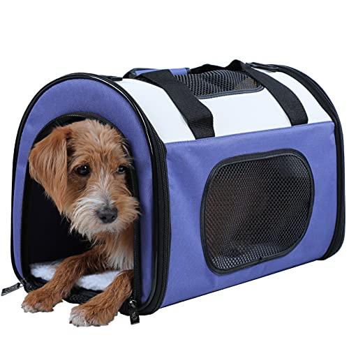 Petsfit Transporttasche Katzen Kleine Hunde Faltbare Transportbox Haustier Tragetasche Hundebox für den Transport von Hund & Katze im Auto oder in der Bahn