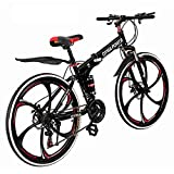 Outroad Mountain Bike 21 Speed 6 Spoke 26 in Shining SYS Double Disc Brake Bicycle Folding Bike for...