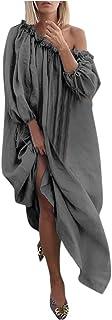 Shusuen Women Maxi Dress Printed Long Dresses Casual Loose Kaftan Oversized Slash Neck Sundress