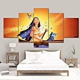 CVBGF 5 Leinwand Poster HD Motiv, Pocahontas Kunstdruck