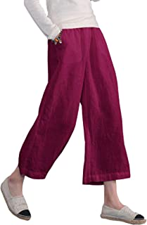 Womens Casual Loose Elastic Waist Cotton Trouser Cropped Wide Leg Pants