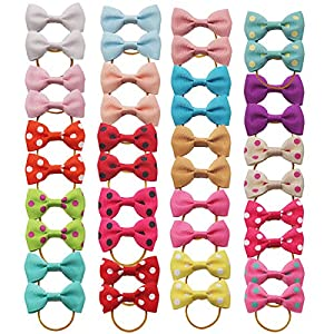 Yxiang 40Pcs/20Pair Dog Hair Bows with Rubber Bands Pet Gromming Products Pet Hair Accessories for Puppy Small Dogs Cats(Multi-Colored)
