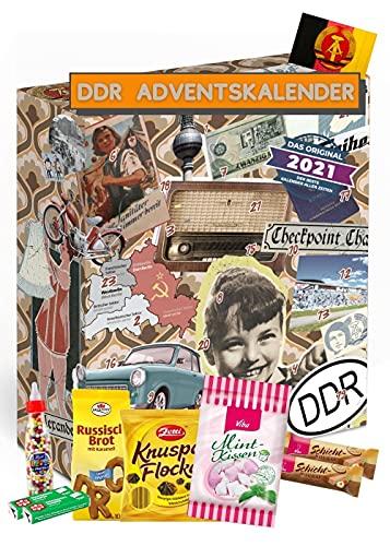 DDR ADVENTSKALENDER 2021 I Geschenkset ehemalige Ostprodukte I Adventskalender mit Süßigkeiten aus der DDR I DDR Ostalgie I Geschenkideen DDR I Geschenkbox Ostalgie für Männer Frauen