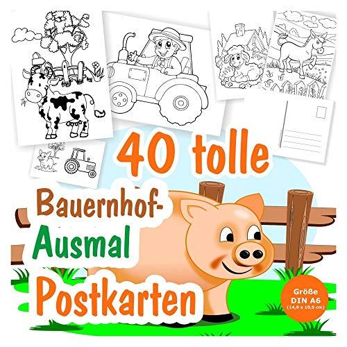 40 DIY Postkarten zum Ausmalen mit Tieren vom Land bzw. Bauernhof, für Kinder ab 3 Jahren. Tolle selbst bemalte Postkarten