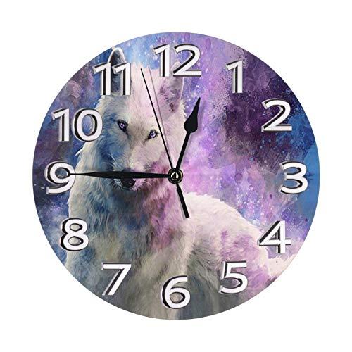 ZCHW Reloj de Pared Redondo Wolf Howling Galaxy Reloj de PVC Reloj silencioso sin tictac Reloj de Pared Circular Decorativo para decoración del hogar