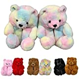 Teddy Bear Slippers For Women, ROSYCLO-Faux Fur Plush Cute Plush Indoor House Slides, Womens Girls Fuzzy Winter Warm Anti-Slip Soft Fluffy Home Bedroom Cartoon furry Shoes (Colorful-001)