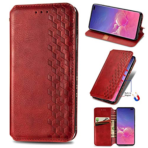 Miagon Samsung Galaxy S10 Mode Hülle,Retro PU Leder Flip Brieftasche Abdeckung Magnetverschluss Folio Ständer Kartensteckplätze Handyhülle,Rot