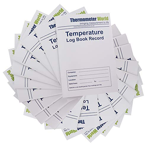 20 X Fridge Temperature Log Book 6 Months Records - Monitor Fridge Freezer Cooking Baking Temperature Food Safety and Hygiene